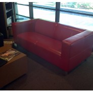 Red Leather Sofa - Couches